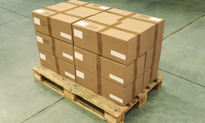 Boxed retail inventory resting on a pallet